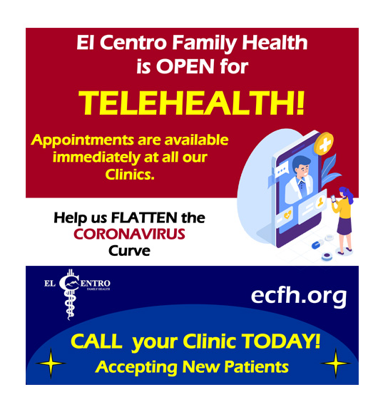 El entro family health is open for telehealth! Appointments are available immediately at all of our clinics. Help us flatten the coronavirus curve. Call your clinic today! Accepting new patients.